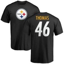 Men's Matthew Thomas Pittsburgh Steelers Name & Number Logo T-Shirt - Black