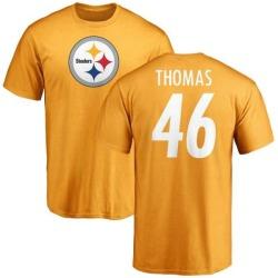 Men's Matthew Thomas Pittsburgh Steelers Name & Number Logo T-Shirt - Gold