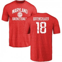 Men's Max Bortenschlager Maryland Terrapins Distressed Basketball Tri-Blend T-Shirt - Burgundy