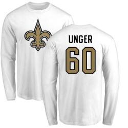 Men's Max Unger New Orleans Saints Name & Number Logo Long Sleeve T-Shirt - White