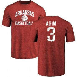 Men's McTelvin Agim Arkansas Razorbacks Distressed Basketball Tri-Blend T-Shirt - Cardinal