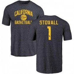 Men's Melquise Stovall Cal Bears Distressed Basketball Tri-Blend T-Shirt - Navy