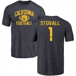 Men's Melquise Stovall Cal Bears Distressed Football Tri-Blend T-Shirt - Navy
