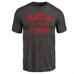 Men's Meyers Leonard Portland Trail Blazers Black Baseline Tri-Blend T-Shirt