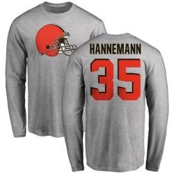 Men's Micah Hannemann Cleveland Browns Name & Number Logo Long Sleeve T-Shirt - Ash