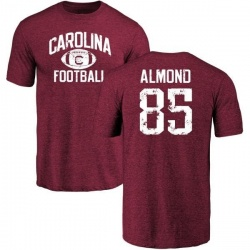 Men's Michael Almond South Carolina Gamecocks Distressed Football Tri-Blend T-Shirt - Maroon