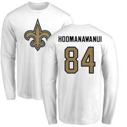 Men's Michael Hoomanawanui New Orleans Saints Name & Number Logo Long Sleeve T-Shirt - White