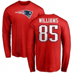 Men's Michael Williams New England Patriots Name & Number Logo Long Sleeve T-Shirt - Red