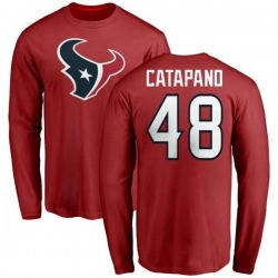 Men's Mike Catapano Houston Texans Name & Number Logo Long Sleeve T-Shirt - Red