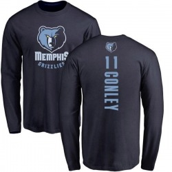 Men's Mike Conley Memphis Grizzlies Navy Backer Long Sleeve T-Shirt