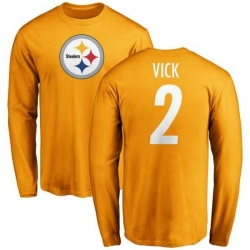 Men's Mike Vick Pittsburgh Steelers Name & Number Logo Long Sleeve T-Shirt - Gold