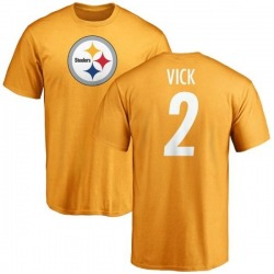 Men's Mike Vick Pittsburgh Steelers Name & Number Logo T-Shirt - Gold