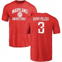 Men's Milan Barry-Pollock Maryland Terrapins Distressed Basketball Tri-Blend T-Shirt - Burgundy