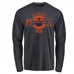 Men's Milan Lucic Edmonton Oilers Insignia Tri-Blend Long Sleeve T-Shirt - Royal
