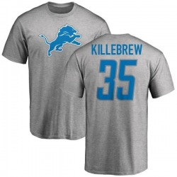 Men's Miles Killebrew Detroit Lions Name & Number Logo T-Shirt - Ash