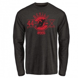 Men's Miles Wood New Jersey Devils Insignia Tri-Blend Long Sleeve T-Shirt - Black