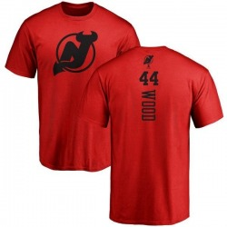 Men's Miles Wood New Jersey Devils One Color Backer T-Shirt - Red
