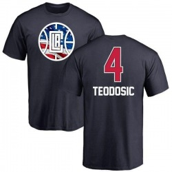 Men's Milos Teodosic Los Angeles Clippers Navy Name and Number Banner Wave T-Shirt