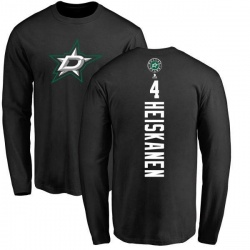 Men's Miro Heiskanen Dallas Stars Backer Long Sleeve T-Shirt - Black