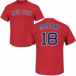 Men's Mitch Moreland Boston Red Sox Roster Name & Number T-Shirt - Scarlet
