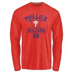 Men's Mitch Williams Philadelphia Phillies Base Runner Tri-Blend Long Sleeve T-Shirt - Red