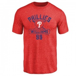 Men's Mitch Williams Philadelphia Phillies Base Runner Tri-Blend T-Shirt - Red