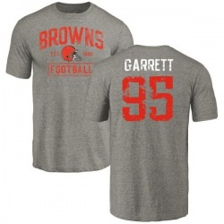 Men's Myles Garrett Cleveland Browns Gray Distressed Name & Number Tri-Blend T-Shirt