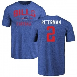 Men's Nathan Peterman Buffalo Bills Distressed Name & Number Tri-Blend T-Shirt - Royal