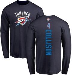 Men's Nick Collison Oklahoma City Thunder Navy Backer Long Sleeve T-Shirt