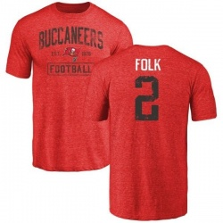 Men's Nick Folk Tampa Bay Buccaneers Red Distressed Name & Number Tri-Blend T-Shirt