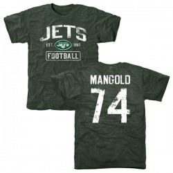 Men's Nick Mangold New York Jets Green Distressed Name & Number Tri-Blend T-Shirt