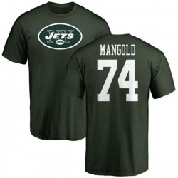 Men's Nick Mangold New York Jets Name & Number Logo T-Shirt - Green