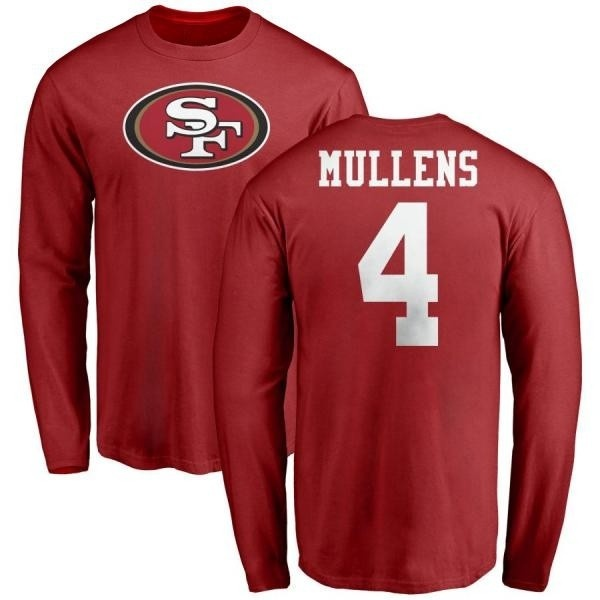 new arrival 7b77d da206 Men's Nick Mullens San Francisco 49ers Name & Number Logo Long Sleeve  T-Shirt - Red - Teams Tee