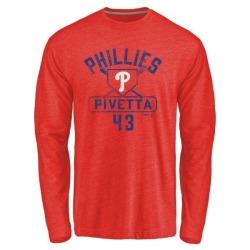 Men's Nick Pivetta Philadelphia Phillies Base Runner Tri-Blend Long Sleeve T-Shirt - Red