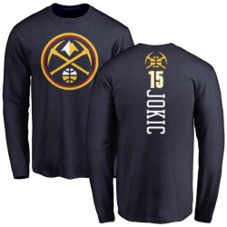 Men's Nikola Jokic Denver Nuggets Navy Backer Long Sleeve T-Shirt