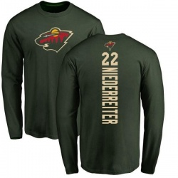 Men's Nino Niederreiter Minnesota Wild Backer Long Sleeve T-Shirt - Green