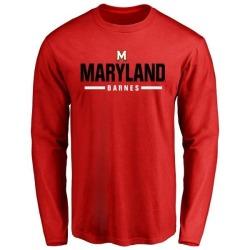 Men's Noah Barnes Maryland Terrapins Sport Wordmark Long Sleeve T-Shirt - Red