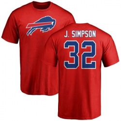 Men's O. J. Simpson Buffalo Bills Name & Number Logo T-Shirt - Red