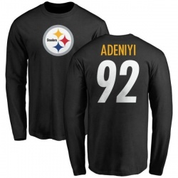 Men's Olasunkanmi Adeniyi Pittsburgh Steelers Name & Number Logo Long Sleeve T-Shirt - Black