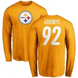 Men's Olasunkanmi Adeniyi Pittsburgh Steelers Name & Number Logo Long Sleeve T-Shirt - Gold