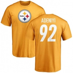 Men's Olasunkanmi Adeniyi Pittsburgh Steelers Name & Number Logo T-Shirt - Gold