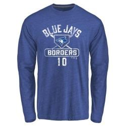 Men's Pat Borders Toronto Blue Jays Base Runner Tri-Blend Long Sleeve T-Shirt - Royal