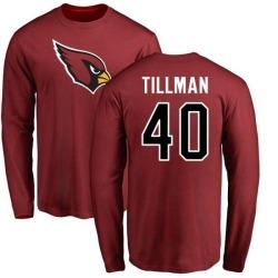 Men's Pat Tillman Arizona Cardinals Name & Number Logo Long Sleeve T-Shirt - Maroon