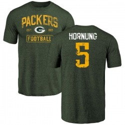 Men's Paul Hornung Green Bay Packers Green Distressed Name & Number Tri-Blend T-Shirt