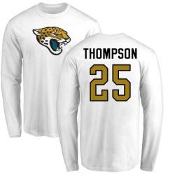 Men's Peyton Thompson Jacksonville Jaguars Name & Number Logo Long Sleeve T-Shirt - White