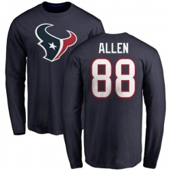 Men's RaShaun Allen Houston Texans Name & Number Logo Long Sleeve T-Shirt - Navy