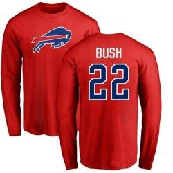 Men's Reggie Bush Buffalo Bills Name & Number Logo Long Sleeve T-Shirt - Red