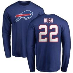 Men's Reggie Bush Buffalo Bills Name & Number Logo Long Sleeve T-Shirt - Royal