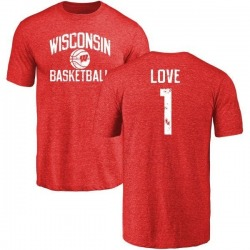 Men's Reggie Love Wisconsin Badgers Distressed Basketball Tri-Blend T-Shirt - Red