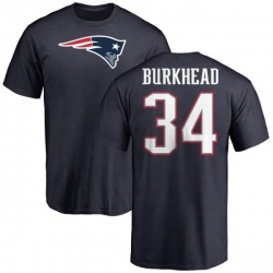 Men's Rex Burkhead New England Patriots Name & Number Logo T-Shirt - Navy